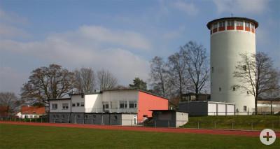 Sportheim vom Fußballplatz aus